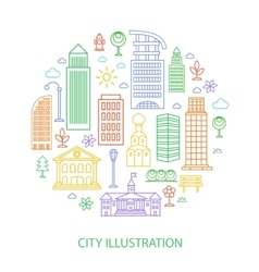 city in linear style vector image