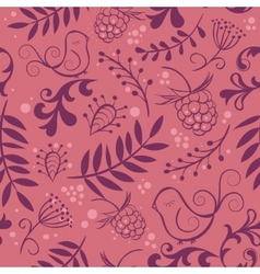cute seamless background with bird and berry vector image vector image