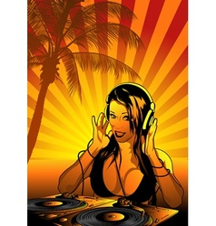 girl dj wallpaper vector image vector image