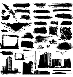 set of grunge elements and urban design vector image vector image