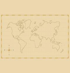 vintage world map old hand drawn art vector image