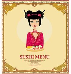 beautiful Asian girl enjoy sushi - menu template vector image vector image