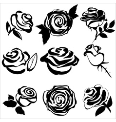 Black silhouette of rose set symbols vector image