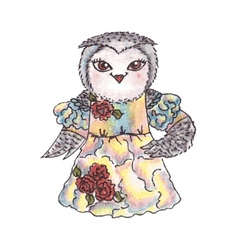 Cute owl in a dress Watercolor vector image