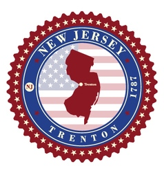 Label sticker cards of State New Jersey USA vector image