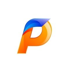 P letter blue and Orange logo design Fast speed vector image