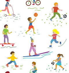 People and sport seamless pattern - funny vector image
