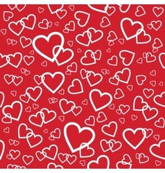 Red seamless pattern with random hearts vector