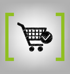 shopping cart with check mark sign black vector image