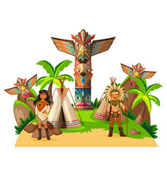 two native american indians at the camp vector image