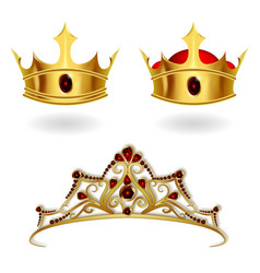 a set of realistic gold crowns and a tiara vector image
