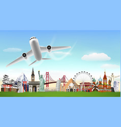airplane flying on sky over world landmark vector image