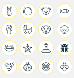 animal icons set collection of moose bumblebee vector image