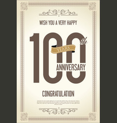 anniversary retro vintage background 100 years vector image