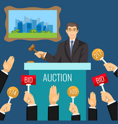 auction process with man holding wooden gavel vector image