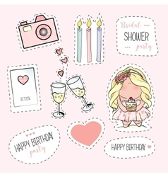 Bachelorette or birthday party stickers vector