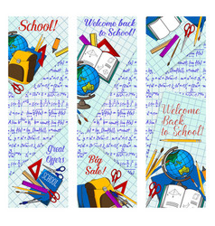 back to school discount banner for sale design vector image