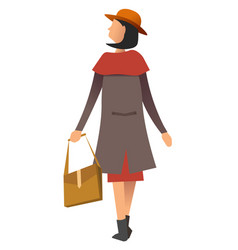 back view female wearing coat and cap holding vector image