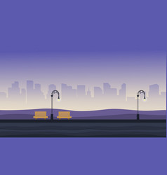 Background game with chair and street lamp on vector