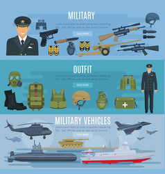 Banners military forces vehicles and outfit vector