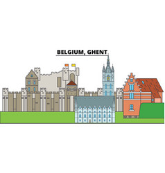 belgium ghent city skyline architecture vector image