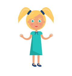 Blonde girl with ponytails in happy childrens day vector