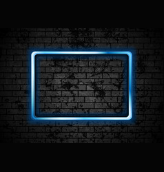 blue glowing neon rectangle frame on brick wall vector image