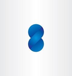 Blue logo 3d effect number eight vector