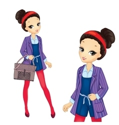 Brunette girl in red tights vector