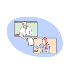 business video conference outsourcing concept vector image