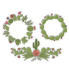 cactus floral frame set hand drawn outline cactus vector image