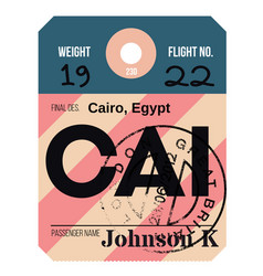 cairo airport luggage tag vector image