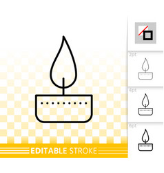 Candle flame simple fire black line icon vector