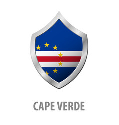cape verde flag on metal shiny shield vector image