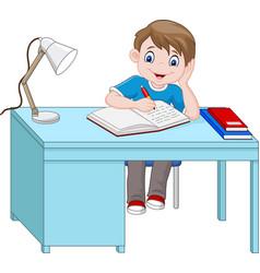 Cartoon little boy studying vector