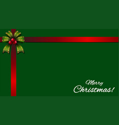Christmas card with red ribbon on green background vector