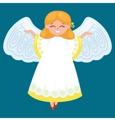 christmas holiday flying happy angel with wings vector image