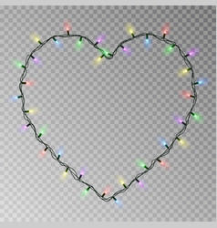 christmas lights heart transparent light g vector image
