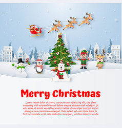 christmas postcard with christmas character vector image