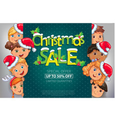 Christmas sale design with cute kids vector