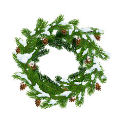 Christmas wreath in snow and pinecones vector