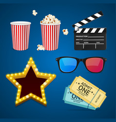 Cinema icon realistic objects set vector