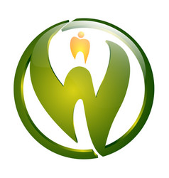 circle green letter w with dental sign concept vector image