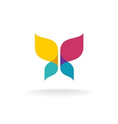 Colorful butterfly logo Overlay transparent sheets vector image
