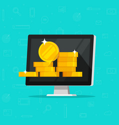 Computer with money flat vector