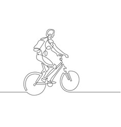 continuous one line drawing of young woman riding vector image