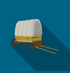 Cowboy wagon icon flate singe western icon from vector