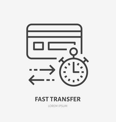 Credit card with clock flat line icon fast money vector
