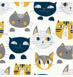 cute cats muzzles seamless pattern artistic vector image