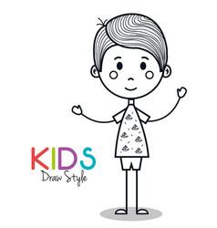 Cute little boy drawing vector